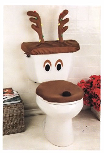 Decorative Holiday Snowman Toilet Cover Set (One Size Fits All, Brown)