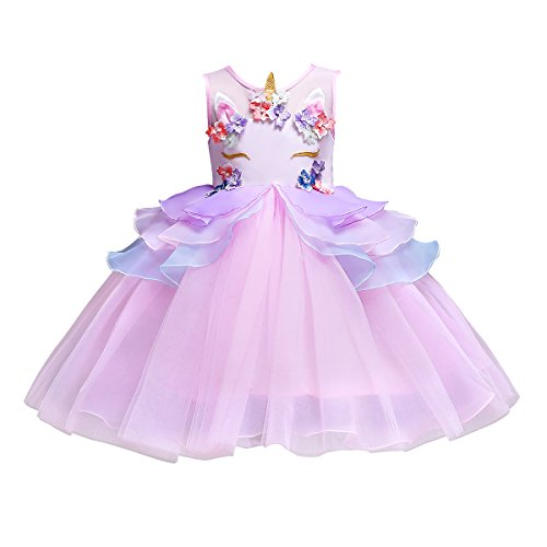FEESHOW Girls Appliques Rainbow Tutu Dress Princess Cosplay Costumes Party Outfit Birthday Tutu Dress up Clothes Pink #2 5-6 by FEESHOW