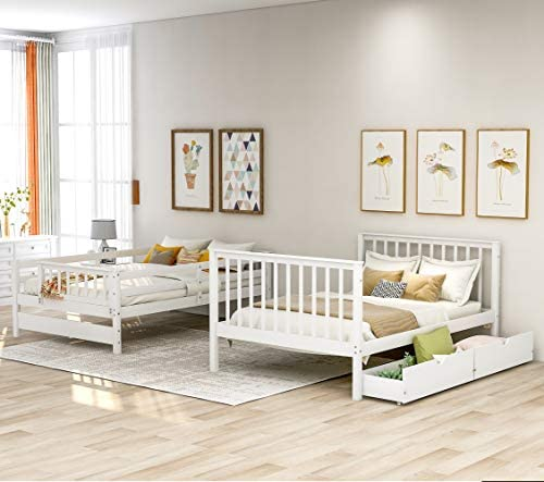 Harper Bright Designs Full Over Full Stairway Bunk Bed