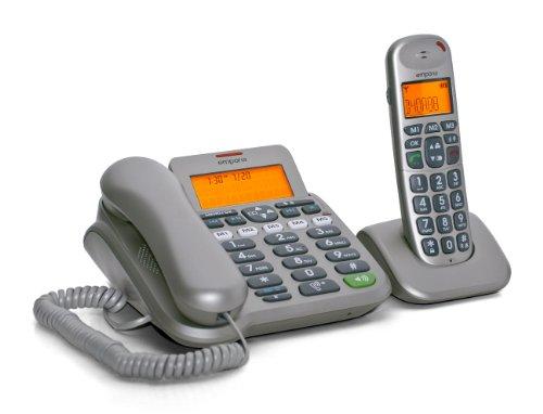 Emporia D40ABB  Komfort-Telefon mit DECT Schnurlostelefon mit Freisprecheinrichtungen titansilber