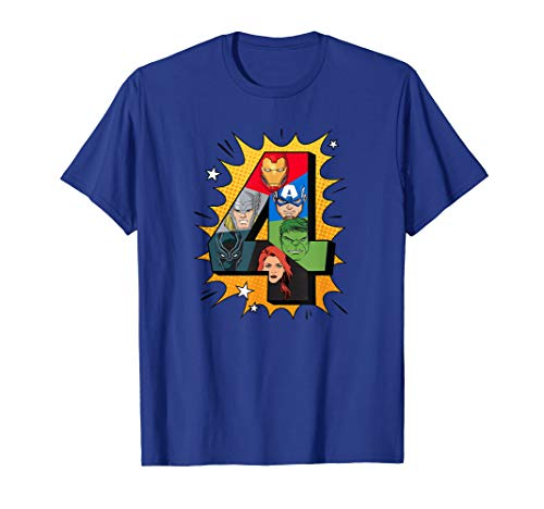 Marvel Avengers Comic Super Heroes 4th Birthday T-Shirt]()