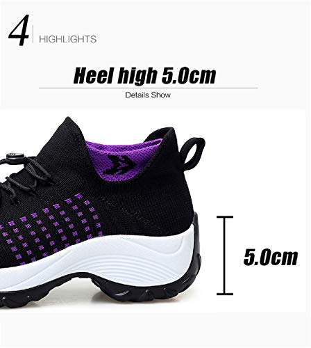 Fitness Da Ginnastica Donna Sportive Corsa Basse Scarpe Interna Nero  All aperto Casual Sneakers Aonegold® Zeppa qgTfRx 746f142d3c5