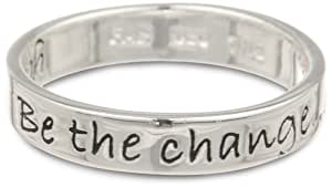 """Sterling Silver """"Be The Change You Wish To See in the World"""" Ring, Size 7"""