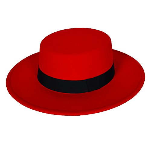 [MATCH MUCH Boater Hat Felt Hat with Wide Brim(Wide Brim-Red)] (Pork Pie Hat For Sale)