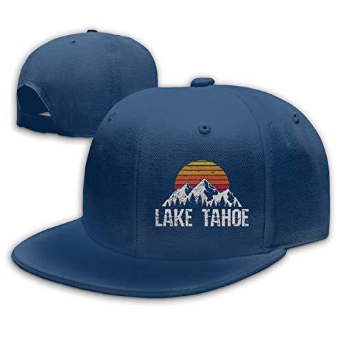 Lake Tahoe Mountain Sun Adjustable Flat Bill Snapback Baseball Hip-hop Cap Hat Navy (Cap Trukfit)
