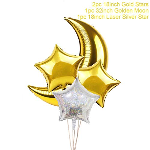 Zpriting 4Pcs Gold Star Baloon Moon Party Balloon Moon and Star Party Decorations Wedding Event Birthday Ballons Accessories Style6 ()
