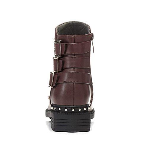 Lucksender Chunky Low Heel Martin Boots Voor Dames Bruin