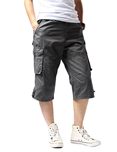Crazy Men's Cargo Shorts Quick-dry Summer Outdoor Shorts Cropped Trousers-grey-3XL by Crazy