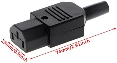 Rewireable IEC C13 Female Inline Socket Power Cable Adapter Cord Plug 250V 10A
