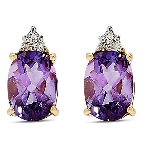 14k Yellow Gold Purple Amethyst Gemstone and Diamond Stud Earrings, Birthstone of February