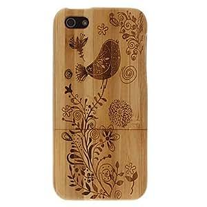 Pájaros materiales de bambú y flores patrón de caso duro desmontable para el iphone 5/5s