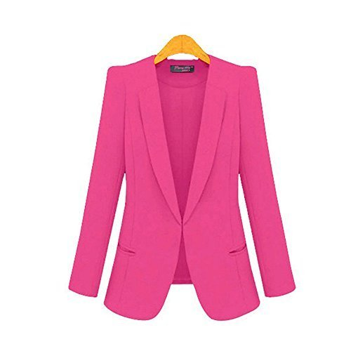 [RS Womens Casual Basic Work Office Cardigan Tuxedo Blazer Boyfriend Jacket Pink 4x] (Ladies Tuxedo)