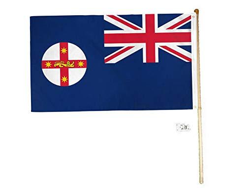 Hebel 5 Wood Flag Pole Kit Wall Mount Bracket 3x5 New South Wales Australia Poly Flag | Model FLG - 1994]()