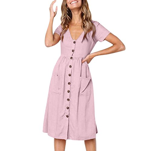 Party Dress, FORUU Womens Holiday Summer Beach V Neck Solid Short Sleeve Buttons Pink