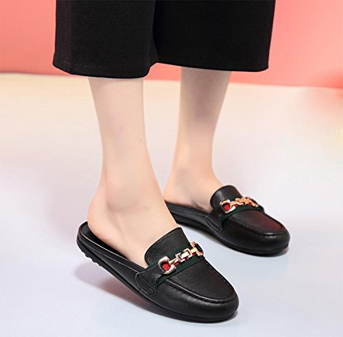 Sommer-Sandalen und Pantoffeln weiblichen flachen Mund runde, flache Sandalen und Pantoffeln weibliche Hausschuhe Sandalen Baotou weibliche beiläufige Schuhe den Fuß schwarz