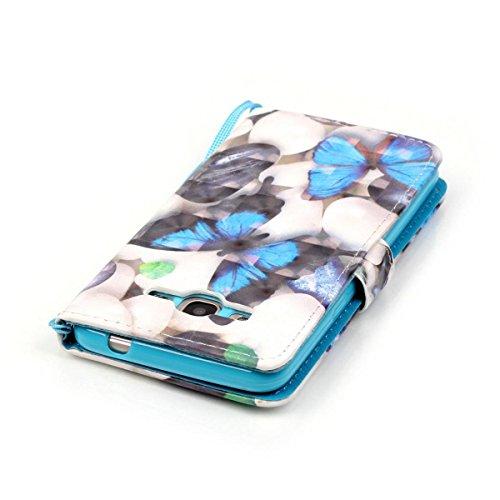 Funda Samsung Galaxy Grand Prime G530, Oso globo Funda Libro de Cuero Flip Cover con TPU Case Interna Para Samsung Galaxy Grand Prime G530, Wallet Case con Soporte Plegable, Ranuras para Tarjetas y Bi Mariposa azul