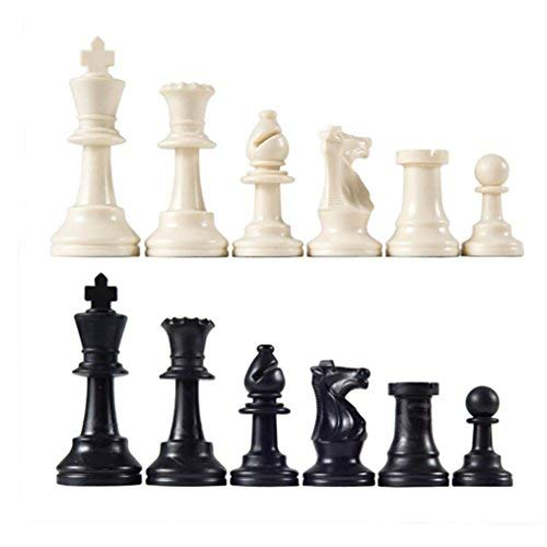 (Heavy Tournament Triple Weight Chessmen Chess Pieces International Word Chess Game Entertainment Black & White - Chess Pieces Only (2.5