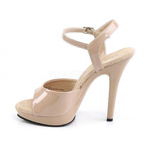 Higher-Heels - Tira de tobillo de material sintético mujer beige - Lack nude