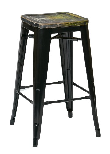 Office Star Bristow 26-Inch Black Metal Frame Barstool with Vintage Wood Seat, Pine Alice, 2-Pack (Stools Bar Pine Backless)