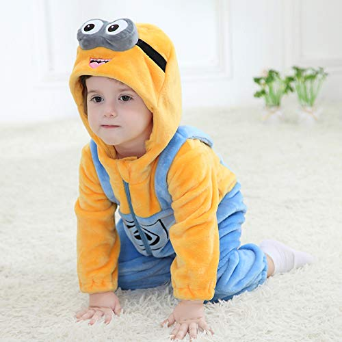 3a89ccd1e Unisex Baby Flannel Romper Animal Onesie Costume Hooded Cartoon Outfit Suit  (Minions, 80)