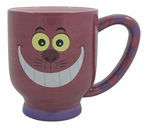 Disney Parks Exclusive Cheshire Cat Face Inner Striped Handle Oversized Coffee Mug