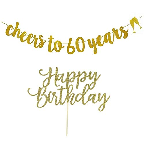 6oth Birthday Party Exclusive Combination Made with the Best Quality-60th Happy Birthday Banner Plus Happy Birthday Cake Topper in One Package 16 Pennants with Single Letters That Spell the Phrase]()