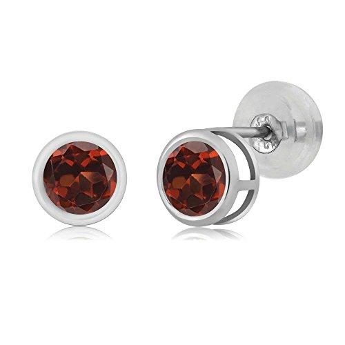 Gem Stone King 14K White Gold 0.74 Ct Round 4mm Natural Red Garnet Bezel Basket Stud Earrings