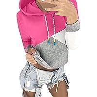 AMSKY❤Women Autumn Long Sleeve Coat Patchwork Hoodie Hooded Sweatshirt Pullover Tops Blouse