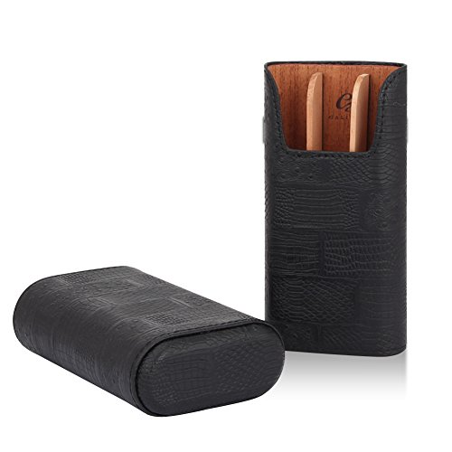 GALINER Cigar Case Genuine LeatheCedar Wood Lined Cigar Holder 60 Gauge Cigar Portable Travel Box 3 Cigars Mini Humidor (Black) ()