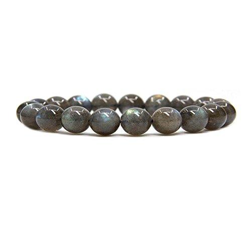 Labradorite Crystal Gemstone (Natural A Grade Labradorite Gemstone 8mm Round Beads Stretch Bracelet 7