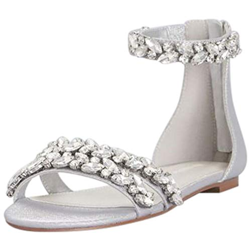 David's Bridal Jeweled Metallic Ankle Strap Flat Sandals Style Alessia, Silver Metallic, 10