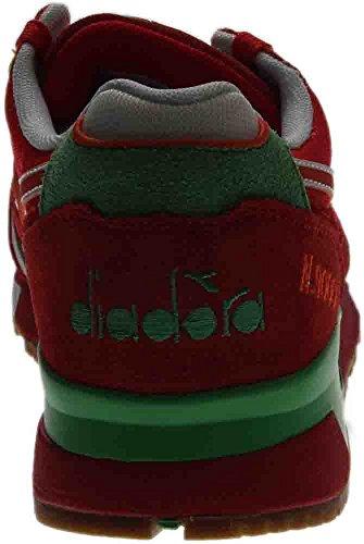 Diadora N9000 Män Rund Tå Syntetiska Blå Gymnastikskor Vallmo Röd / Irländsk Grön