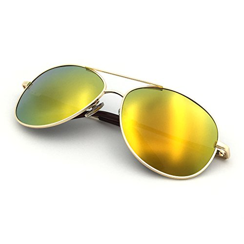 J+S Premium Military Style Classic Aviator Sunglasses, Polarized, 100% UV Protection (Medium Frame - Gold Frame/Orange Mirror Lens)