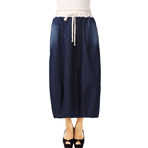 NONOSIZE Women's Plus Size Jean Drawstring Elastic Waist Vintage Straight Long Denim Skirt with Pockets