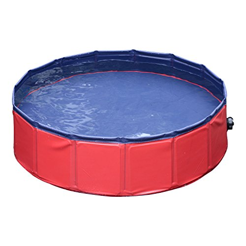 PawHut 12'' x 63'' Foldable PVC Pet Swimming Pool Red and Blue