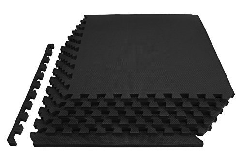 """k Puzzle Exercise Mat 3/4"""", EVA Foam Interlocking Tiles for Protective, Cushioned Workout Flooring for Home and Gym Equipment, Black ()"""
