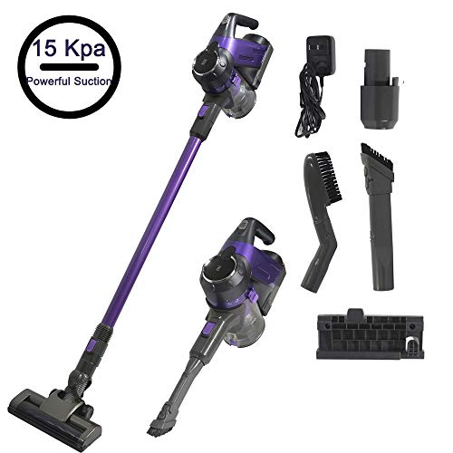 SU-VAC Purplue Cordless 2 in 1 Lightweight Vacuum Cleaner High Suction 200W Brushless Motor Up to 15Kpa for Carpet Hard Floor Long Running Time 40mins with Rechargeable Lithium Ion Battery