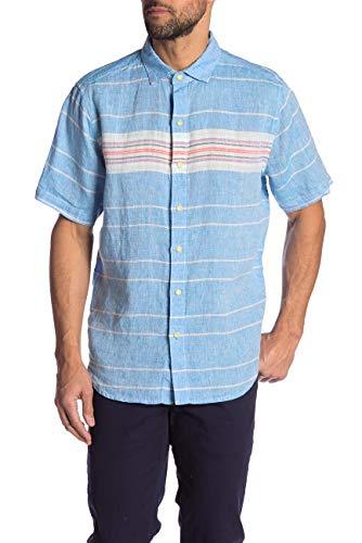 - Tommy Bahama Serape Stripe Linen Shirt (Color: Blue Aster, Size XXL)
