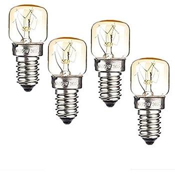 High Temp.110V—130V 15W Oven Light Bulb Heat Resistant Bulb E14 Medium Base.Night Light.Oven Light Bulbs.Oven Refrigerator Bulbs(4pack)