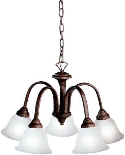 Kichler 2022TZ, Hastings Mini Glass 1 Tier Chandelier Lighting, 5 Light, 500 Watts, Tannery Bronze