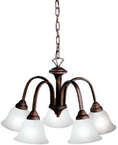 Hastings Mini (Kichler 2022TZ, Hastings Mini Glass 1 Tier Chandelier Lighting, 5 Light, 500 Watts, Tannery Bronze)