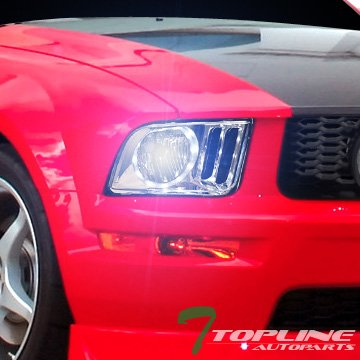 Topline Autopart 8000K HID Bi-Xenon + Chrome LED - Mustang 2008 Headlights Hid Halo