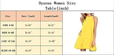 Oyanus Women's Casual Sleeveless High Neck Pockets Loose Swing T-Shirt Dress