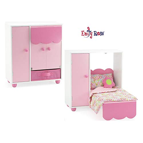 Emily Rose 18 Inch Doll Furniture for American Girl Dolls   All in One Space Saving Murphy Doll Bed with Doll Closet and Doll Clothes Storage Bin   Fits 18