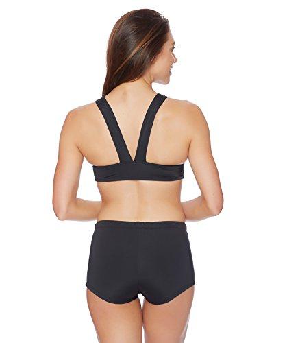 Nautica Women's Soho Solids Removable Soft Cup Sport Bra Bikini Top, Black, Medium
