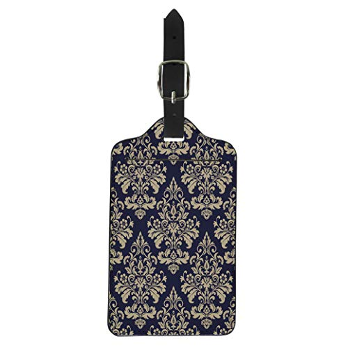 Semtomn Luggage Tag Antique Floral Pattern Baroque Damask Gold and Blue Black Suitcase Baggage Label Travel Tag Labels ()