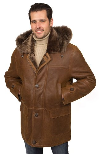 Aston Leather Men's Brooklyn Shearling Coat Rugged Whiskey XXX-Large