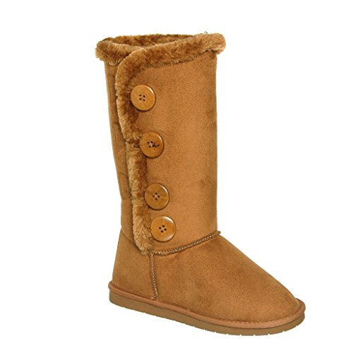 Four button line up Fur Lined Mid-calf Snow Boots (7, Tan) - Junior Boots