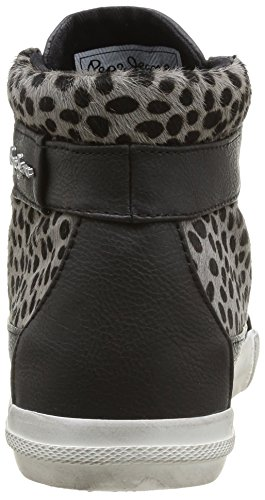 Pepe Jeans London MC CLAINE ANIMAL PRINT Damen Hohe Sneakers Blau (CHROME 952)