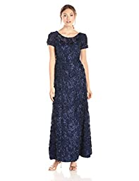 Alex Evenings Women\'s A-Line Rosette Sleeve Gown with Sequin Detail, Navy, 16